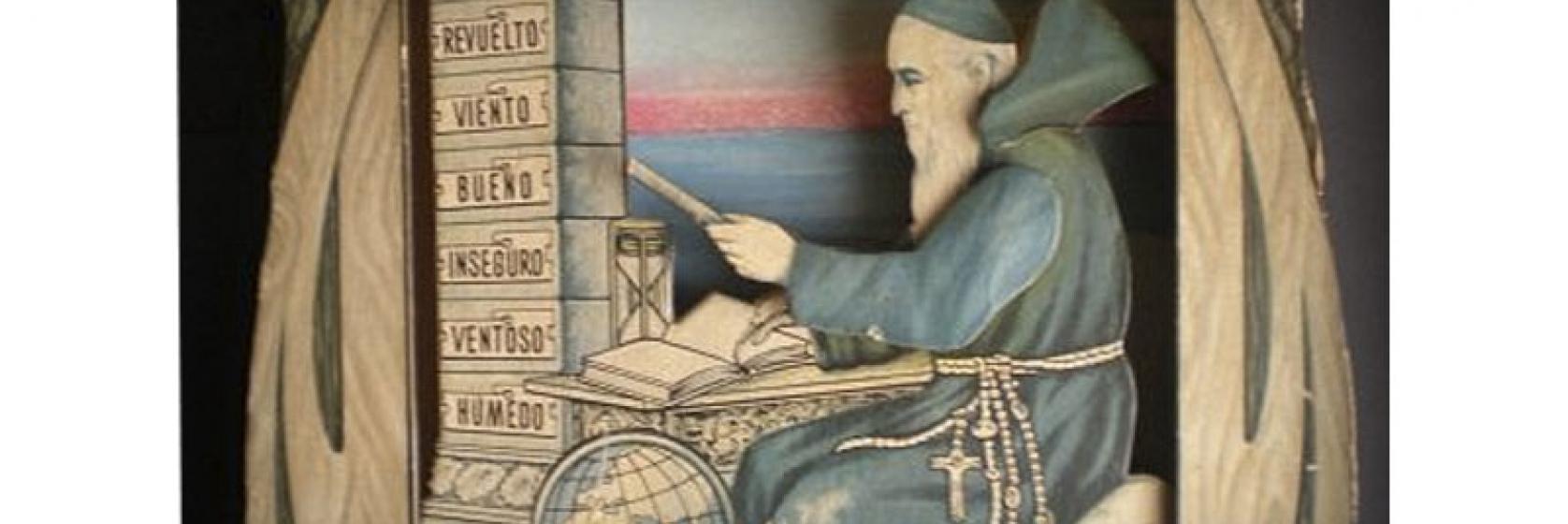Un viejo monje escribiendo